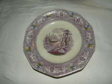 ANTIQUE STAFFORDSHIRE IRONSTONE MULBERRY POLYCHROME PLATE LANDSCAPE SCENE