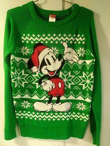 Disney Mickey Mouse Ugly Christmas Sweater Green Santa Holiday Medium