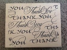 """THANK YOU mounted RUBBER STAMP Dunami Designs ©2003 new old stock 4""""X 5"""""""