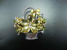 Lot 3 Flower Yellow Rhinestones Brooch Pin Women Bridal Wedding Party Usa Seller