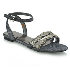 a95a93a38dcead Womens Flat Summer Strappy Sandals Ladies Diamante Holiday Casual Beach  Shoes UK 3   EU 36