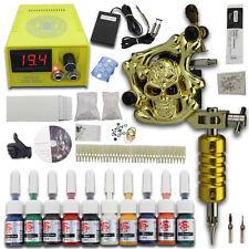 Tattoo Komplett Set Tätowier maschine 1 Gun 50 Nadeln 38 Tipps LCD Netzgerät J02