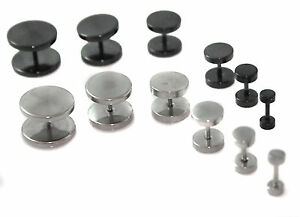SINGLE 316L Stainless Steel Fake Cheater Mens Ear Plug Earring Stud Stretcher