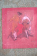 bullfighter painting old vintage red velvet signed star