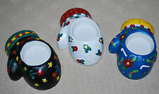 Me Ink Mary Engelbreit Set 3 Christmas Holiday Candle Votive Holders Ceramic Nwt