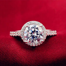 1.50ct d vvs1 round cut diamond halo engagement ring promise 14k white gold over