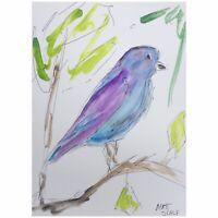 Matt Scalf Bird Nature Abstract Blue Birds ORIGINAL PAINTING Watercolor 9x12