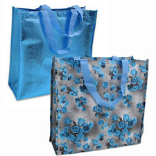 """2 BAGS Blue Diamond & Blue Rose Shopping Grocery Bag 15"""" Reusable Tote Bags NEW"""