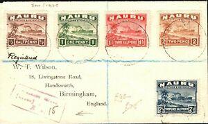 NAURU Cover Registered Values ½d - 2½d GB Birmingham via Sydney 1925 PB297