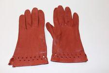 50er 50s 60er 60s Vintage TRUE VTG LEDER Handschuhe LEATHER GLOVES Gr 5/S COGNAC
