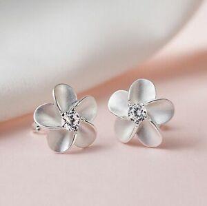 Women Flower Crystal Stone Stud Earrings 925 Sterling Silver Jewellery Gift UK