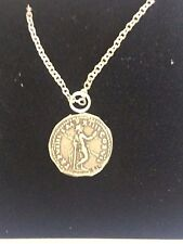 """Denarius Of Titus Man With Spear WC25  In Pewter On 24"""" Silver Plated Necklace"""