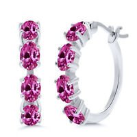4.00 Ct Oval Pink Created Sapphire 925 Sterling Silver Earrings