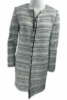 Tahari Women's Boucle Fringe Trim Open Front Jacket Ivory Blue Black Size 2