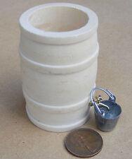 1:12 Wooden Rain Barrel Tap And Metal Bucket Dolls House Miniature Accessory L