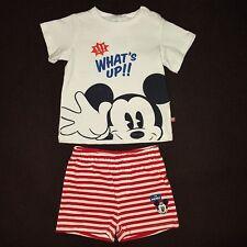DISNEY BABY ensemble MICKEY t-shirt + short 9 mois rouge blanc NEUF