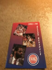 Joe Dumars, Isiah Thomas & Don Chaney 1993-94 Detroit Pistons Pocket Schedule