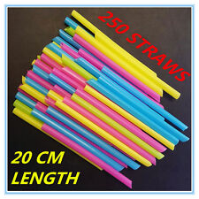 250 LARGE WIDE PLASTIC COLOURFUL DRINKING STRAWS 20 CM LENGTH - PARTY WEDDING F