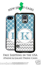 Blue Checker Grey Chevron Monogrammed Personalized iPhone & Galaxy Phone Case
