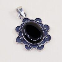 Vtg Sterling Silver Handmade Pendant solid 925 silver w/ Obsidian N Beads