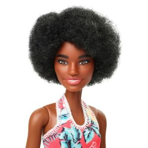 BARBIE DOLL AFRICAN AA - BLACK FLUFFY HAIR - AFRO HAIR COLORFUL DRESS GHT26 .