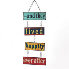 AND THEY LIVED HAPPILY EVER AFTER CHAIN LINKED VINTAGE STYLE METAL SIGN PLAQUE