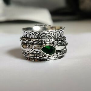 Emerald Ring Spinner Ring 925 Sterling Silver Plated Handmade Ring Size 8 P539