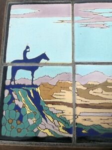 mission taylor Art Pottery tile table South west indian Scene Los Angeles 1920's