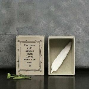 Porcelain Feather Matchbox Gift - Missing You - Keepsake - East Of India