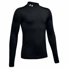 Under Armour Mens Small Coldgear Baselayer Top UA Mock Compression Black Golf