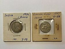 1936 INDIA 1 ANNA and 1947 1/4 Quarter Rupee world coins