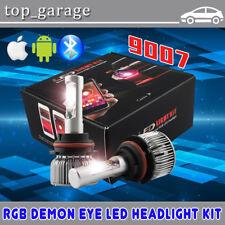 9007 HB5 2 in 1 LED Hi/Lo Headlight Bulb w/ RGB Demon Eyes Bluetooth APP Control