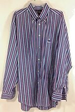 Faconnable Mens Logo Relaxed Fit Button Down Striped Shirt Business Casual Large