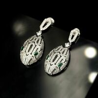 Earrings Nails Head Snake Solid Silver 925 Cz Green Encrusted CY5