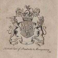1779 Antiguo impresión Familia Crest Escudo de Armas Herbert conde de Pembroke Montgomery
