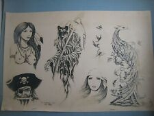 Vintage tattoo flash art ..11 x 17 in. ...Jack Rudy..1984...Signed,Pencil