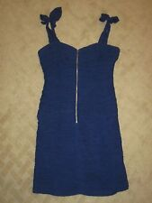 Rebecca Taylor Sleeveles Blue Silk Exposed Front Zipper Ruched Dress-Size 4- EUC