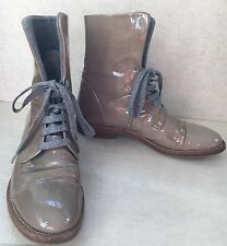 Brunello Cucinelli Women's Patent Leather Beige Boxing Boots 37 US 7