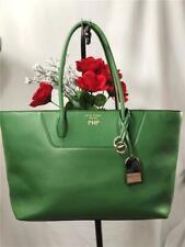 HENRI BENDEL Green Pebbled Leather Large Shoulder Tote Bag