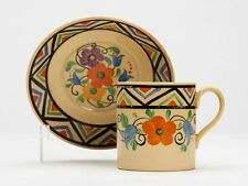 ART DECO WEDGWOOD MILLY TAPLIN FLORAL PAINTED CUP & SAUCER