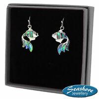 Goldfish Earrings Paua Abalone Shell Lucky Fish Silver Fashion Jewellery Gift