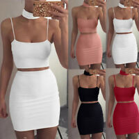 Sexy Women's Summer Casual Two Piece Set Crop Top and Skirts Waist Bodycon Suit