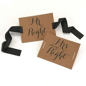 Mr and Mrs Always Right Wedding Chair Signs Decorations For the Bride and Groom