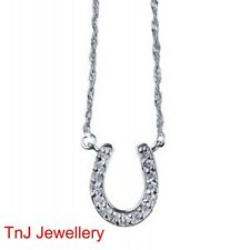 Genuine Solid 925 Sterling Silver Lucky Horseshoe CZ Pendant With Silver Chain