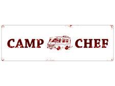 METALLSCHILD Shabby Blechschild CAMP CHEF Camping Geschenk Camper
