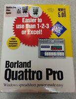 Borland Quatro Pro Spreadsheet Version 5.0 Vintage Software For Windows