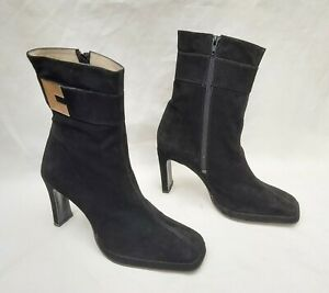 SHELLEYS VINTAGE SQUARE TOE BLACK SUEDE MINI PLATFOM BOOTS UK8 NEW FREE UK P&P!