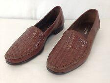 Franco Fortini Italy Mens 9 1/2 M Brown Leather Weave Slip On Loafer Shoes
