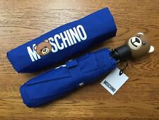 MOSCHINO BLUE TOY TEDDY BEAR AUTOMATIC COMPACT UMBRELLA WITH STORAGE POUCH BNWT