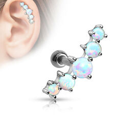 Five Opal Stone Ball Surgical Steel Ear Cartilage Piercing Tragus Barbell Stud